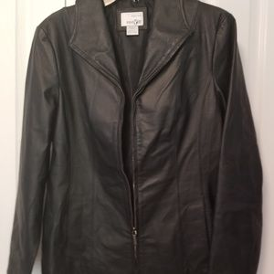 East 5th Black Genuine Leather Coat Size Small